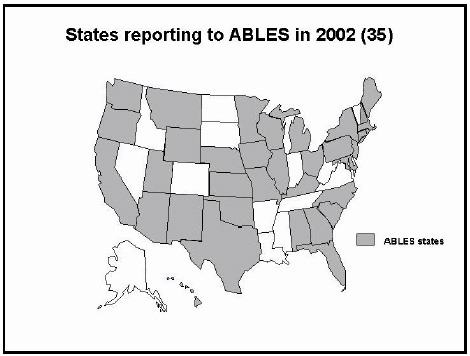 illustratoin showing states reporting to ABLES in 2002 (35)