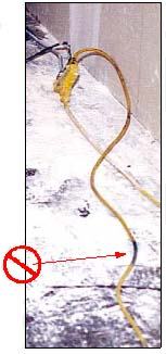 Image of damanged extension cord