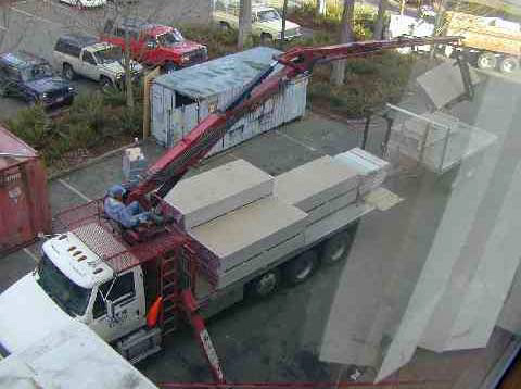 Rotation from stocking (lifting panels) to boom truck operation (for stockers trained for boom truck operation).