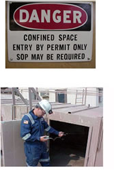 photos of danger sign and confined space