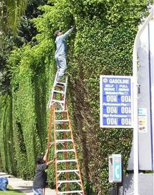 incorrect ladder use