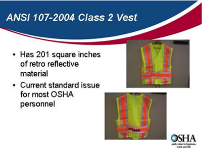 Front and back images of daytime high-visibility vest