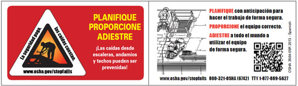 Image of fall prevention wallet card in Spanish