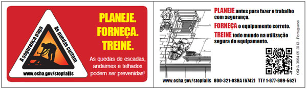 Image of fall prevention wallet card in Portuguese