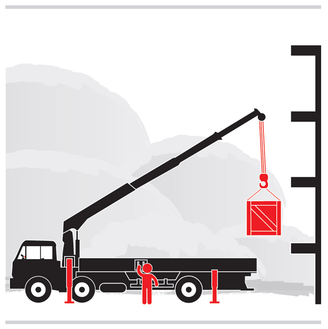 Graphic of a worker operating a crane.