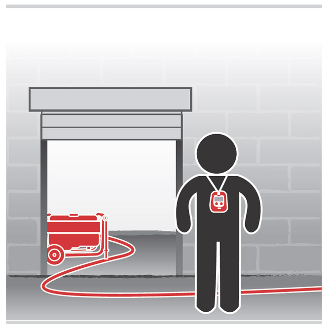 Graphic of a worker wearing a carbon monoxide monitor standing in an enclosed area with a generator.