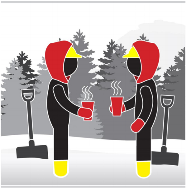Graphic of workers wearing warm, protective clothing, drinking a warm drink.