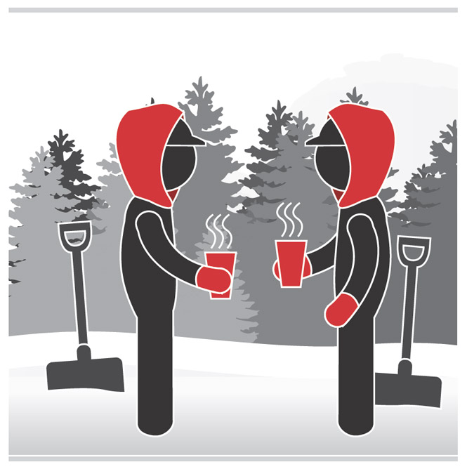 Graphic of two workers in cold weather wearing gloves, hats and drinking warm beverages.