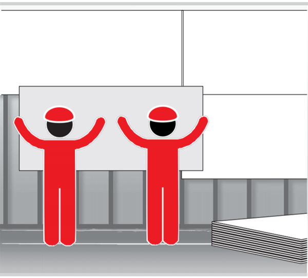 Graphic of two workers lifting a piece of drywall into place.