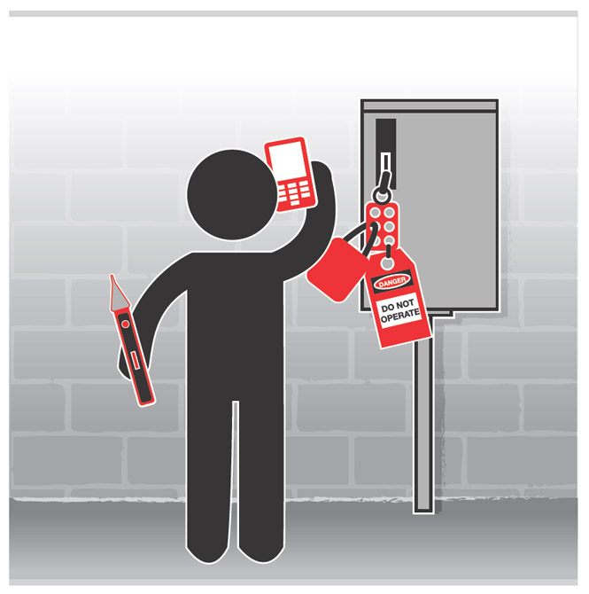 Graphic of a worker holding a voltage detector and talking on the phone while  standing next to a locked-out electrical box.