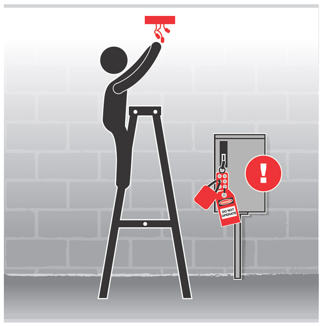 Graphic of a worker on a ladder installing a light fixture.  Nearby is an electrical box with a lockout notice.