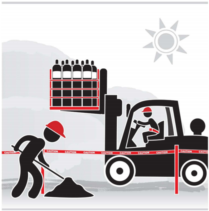 Graphic of a worker separated by tape from a forklift with a hoisted load.