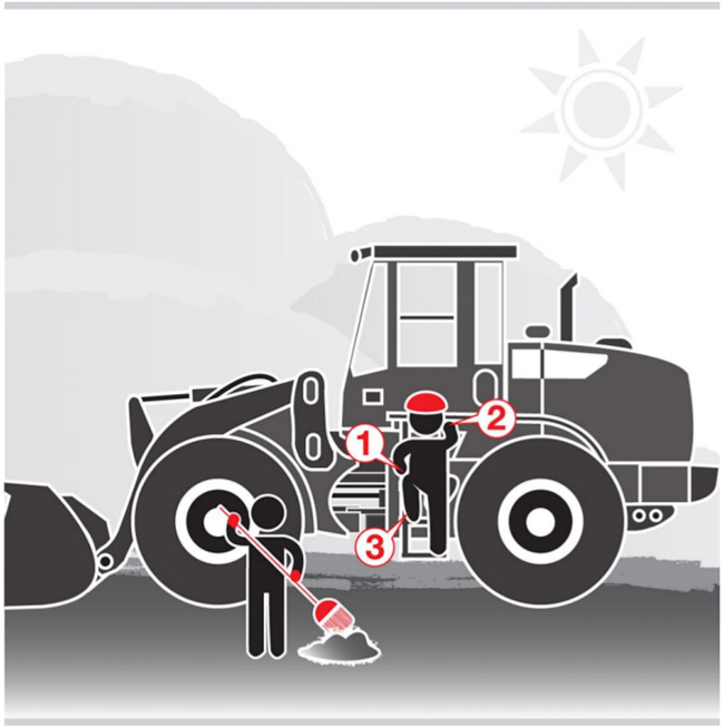 Graphic of one worker cleaning up debris while another worker climbs onto a tractor maintaining three-point contact.