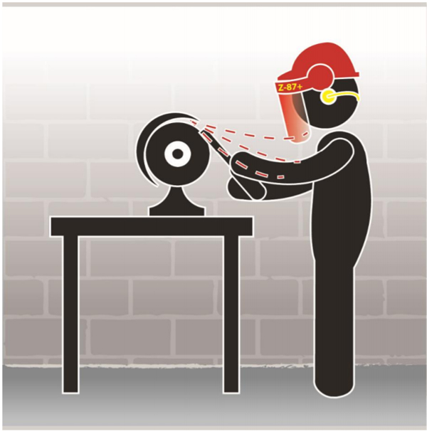 Graphic of a worker wearing a face shield while using a grinding wheel.