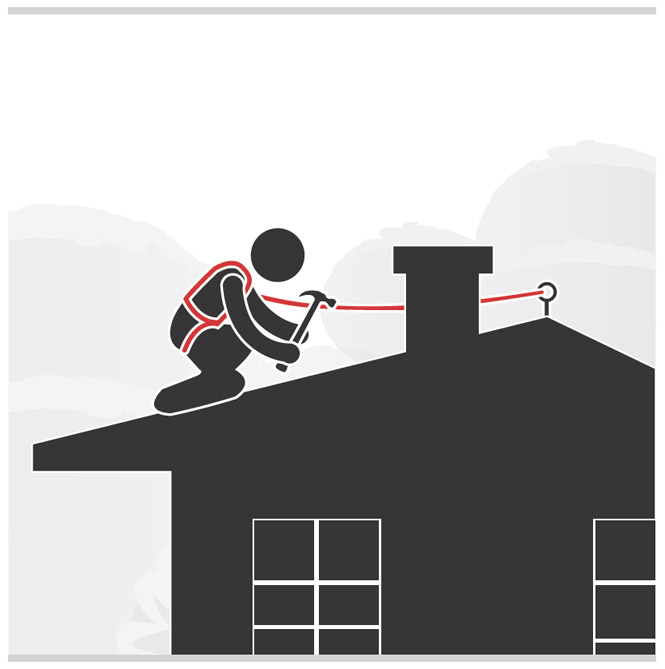 Graphic of a worker with fall protection in place hammering on a sloped roof.