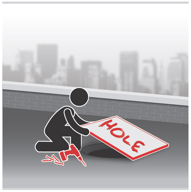Graphic of a worker covering and labeling a hole on the roof.