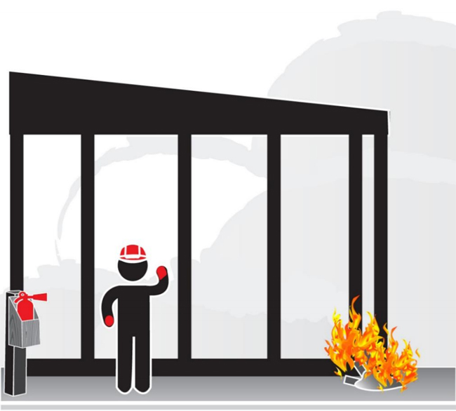 Graphic of a worker inspecting an electrical cord with a fire extinguisher nearby.