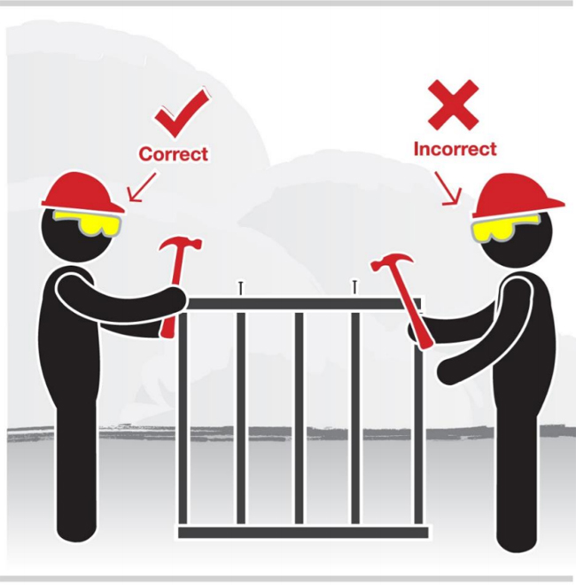 Graphic of two workers wearing head protection. One worker is wearing the head protection correctly. The second worker is wearing the head protection incorrectly, facing backwards.