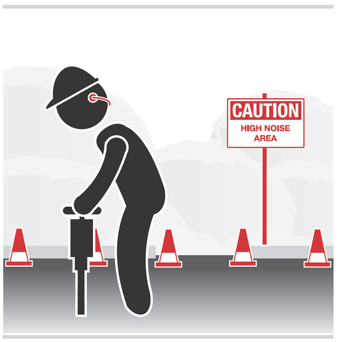Graphic of a worker wearing hearing protection while jackhammering.  Nearby is a sign that states: Caution, high noise area
