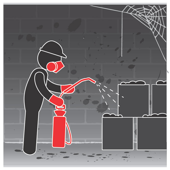 Graphic of a worker misting piles of droppings/manure.  The worker is wearing a respirator and gloves.