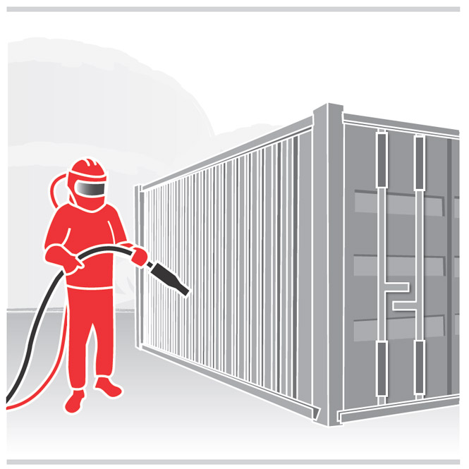Graphic of worker sandblasting a metal structure.  The worker is wearing a respirator, face shield, coveralls, gloves and shoe coverlets.