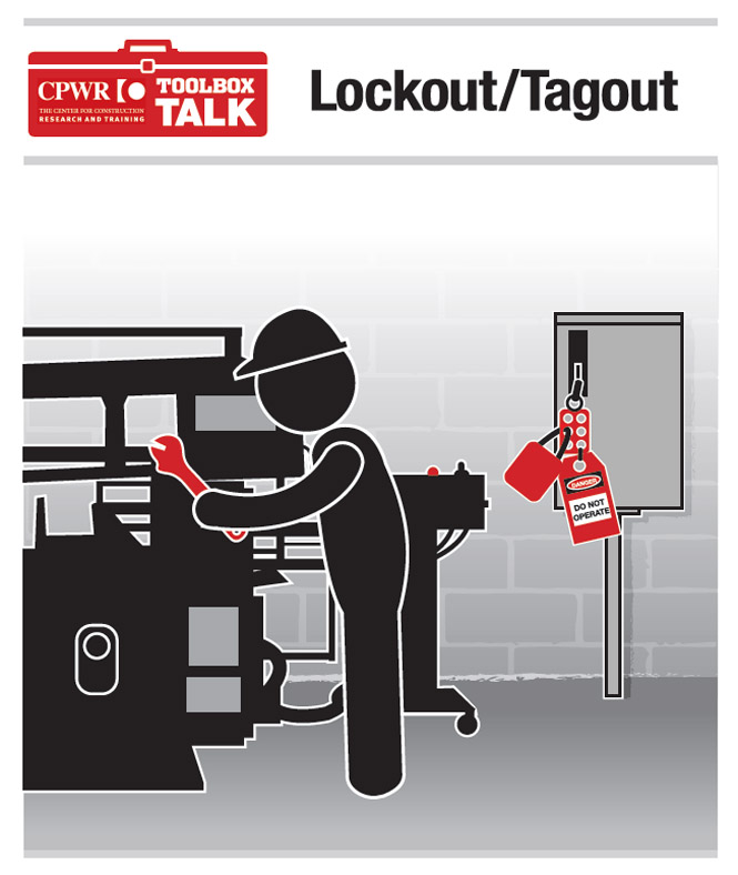 Graphic of a worker demonstrating proper lockout on an electrical grid as he maintains equipment.