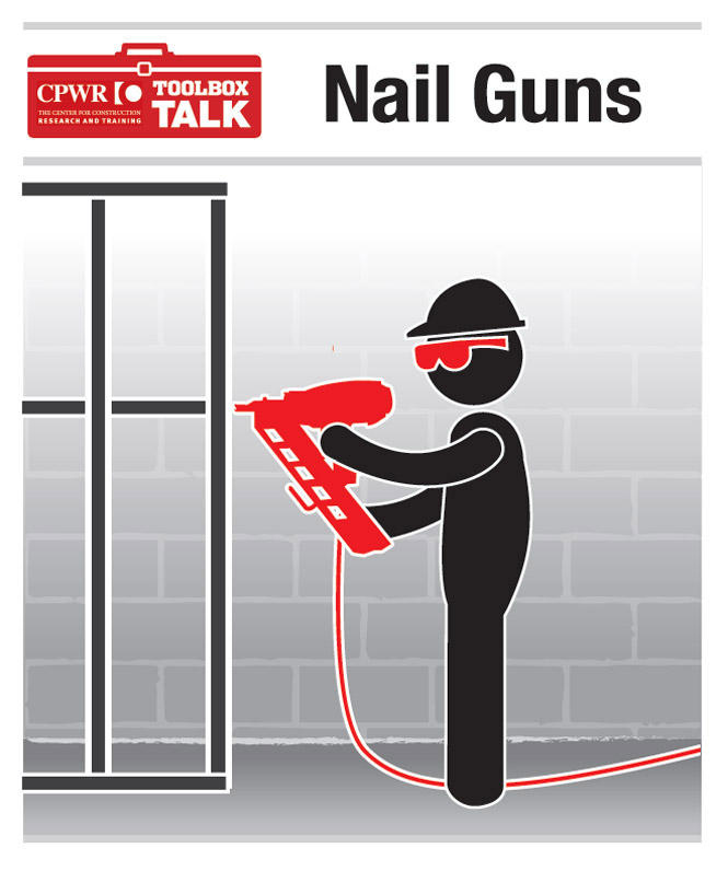 Graphic of a worker using a nail gun while wearing proper safety equipment.