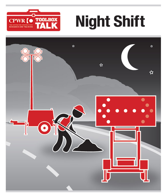 Graphic of a worker on the night shift. The worker is wearing reflective clothing, in the vicinity of arrow panels and construction lights.