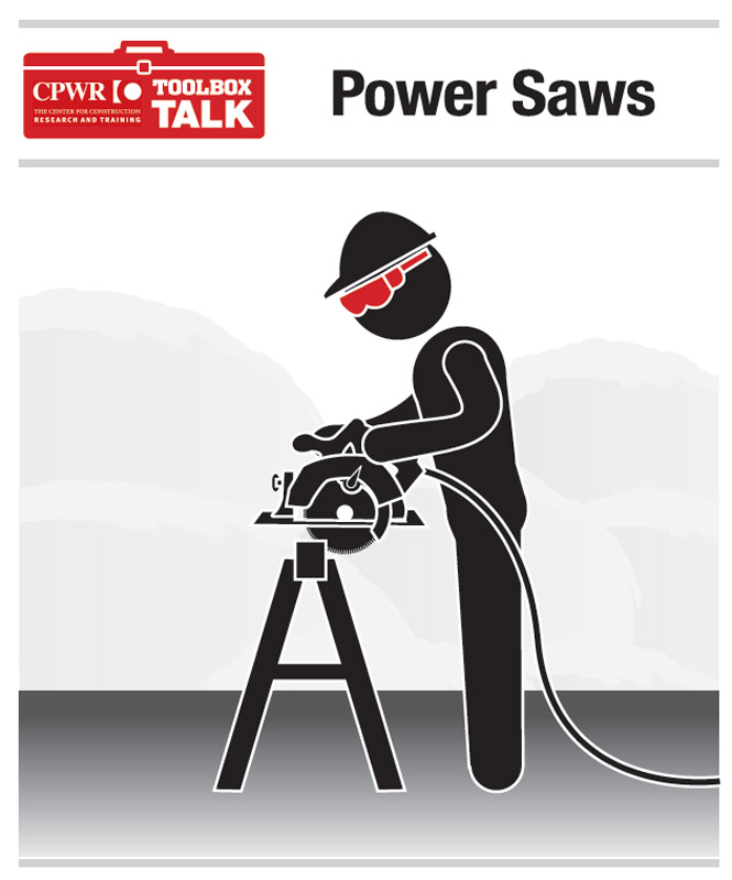 Graphic of a worker using a power saw, while wearing protective eye equipment.