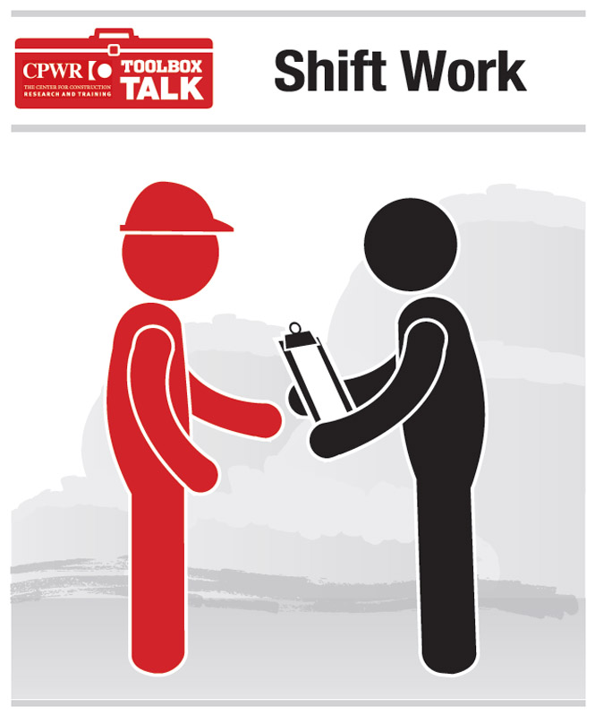 Graphic of a worker discussing their shift with their supervisor.