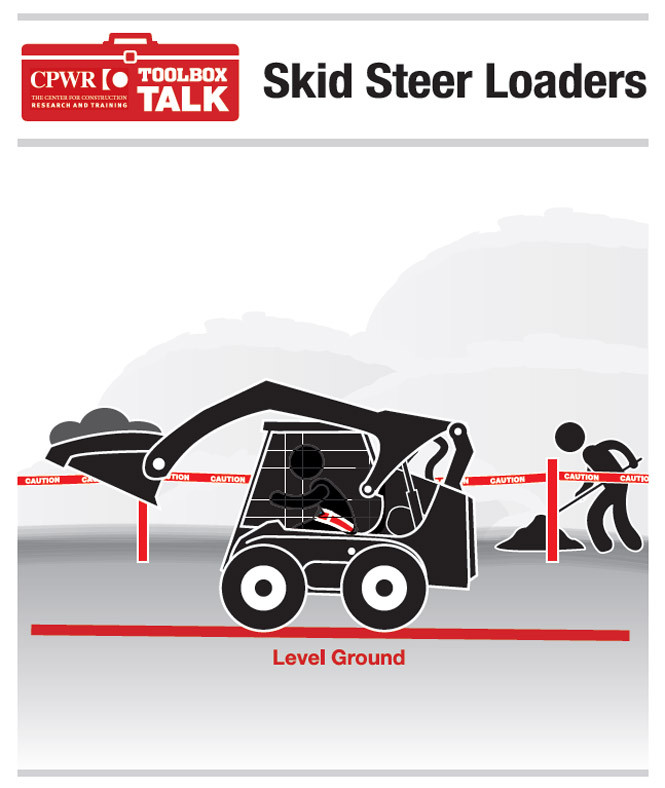 Graphic of two workers, one driving a skid steer loader over level terrain with safety harness in place. The second worker is working away from the loader's path.