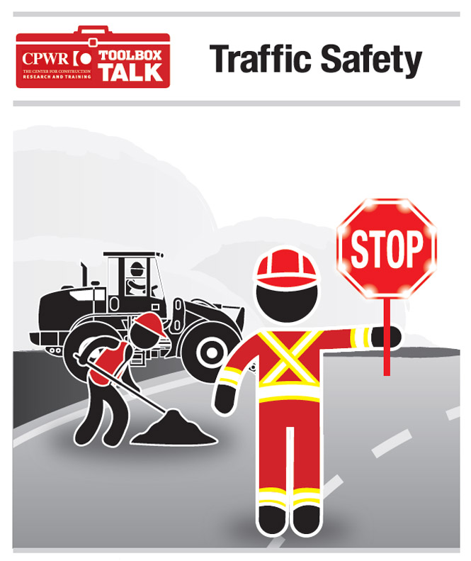 Graphic of workers in a construction zone. All workers are wearing proper reflective clothing; one work is holding a slow/stop sign with a strobe light for passing motorists.