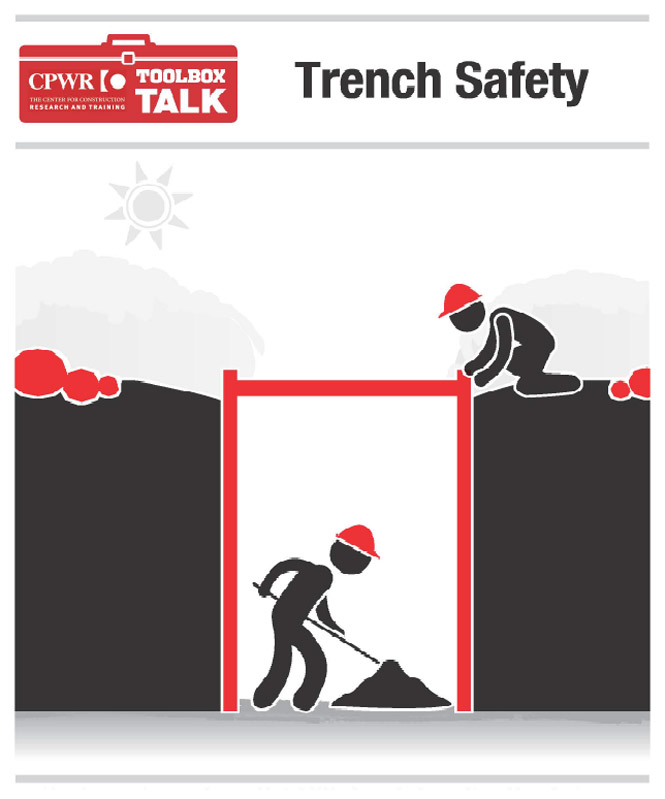 Graphic of two workers working in a trench. One worker is acting a lookout for the other and keeping rocks away from the edge.