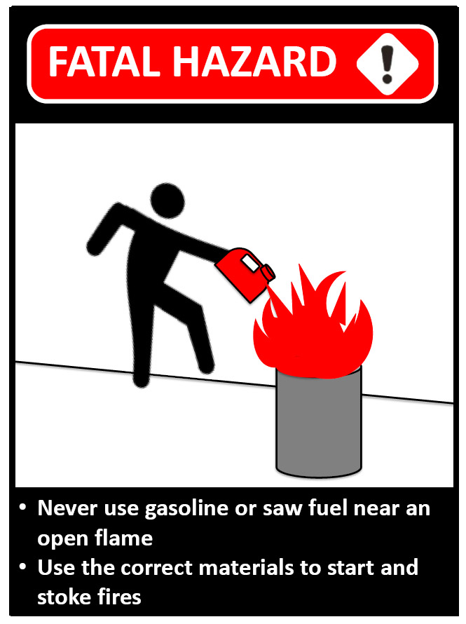 Graphic of worker and gas can next to burning barrel.