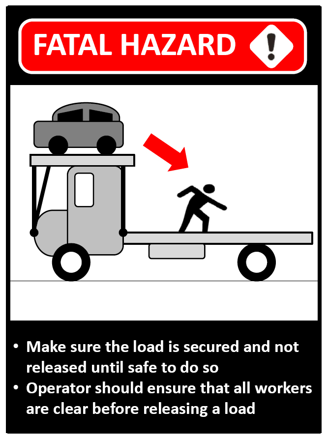 Graphic of worker and unsecured car on transporter