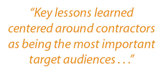 "Sidebar: ""Key lessons learned centered around contractors as being the most important target audiences"