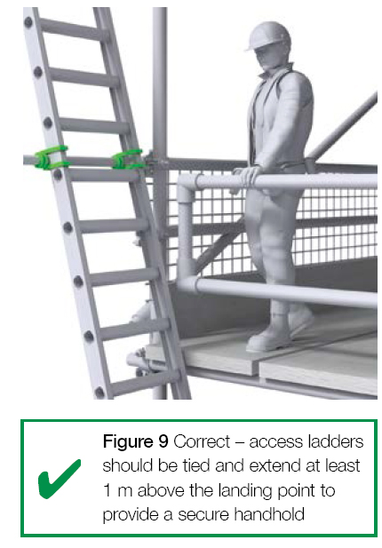 Figure 9 Correct - access ladders should be tied and extend at least 1 meter above the landing point to provide a secure handhold.