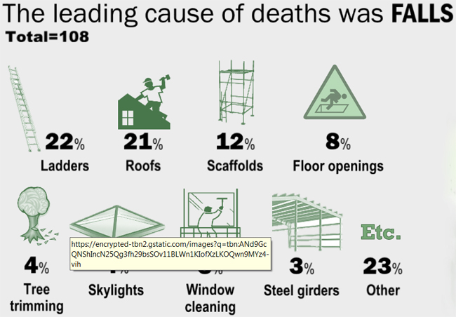 The leading cause of deaths was Falls