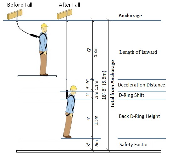 Before fall and after fall diagram, added up with a safety factor that suspends the worker in the air away from impact