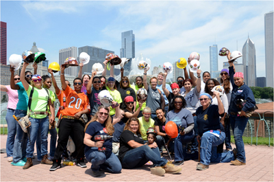 Group photo of women construction workers from Chicago Women in Trades.