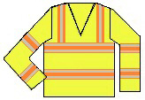 reflective orange and yellow long sleeved shirt