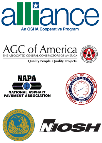 alliance, ACG of America, NAPA, International Union of Operating Engineers, NIOSH, and Laborers Health and safety fund logos