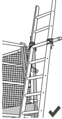 Illustration of a ladder with a safe handhold