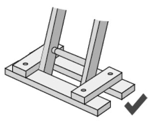 Illustration of the base of a secured ladder