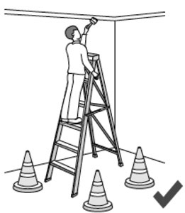 Illustration of a person on a ladder, painting a ceiling. The ladder is surrounded by safety cones.
