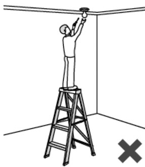 Illustration of a person improperly standing on the top rung of a ladder, while painting a ceiling.