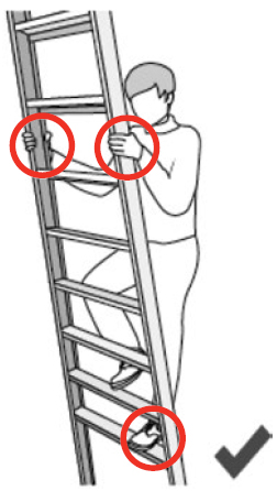 Illustration of a person climbing a ladder, while maintaining three points of contact (both hands and 1 foot) with the ladder.