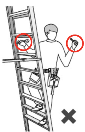 Illustration of a person improperly holding tools in both hands while climbing a ladder.