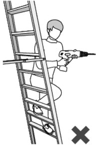 Illustration of a person adjusting a tool with both hands while standing on a ladder.