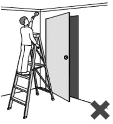 Illustration of a person painting a ceiling on a ladder that is improperly positioned in front of a doorway.
